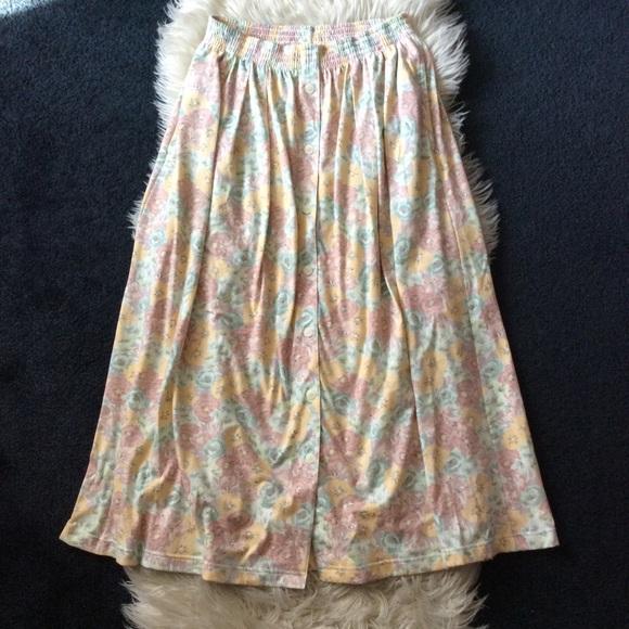Vintage Dresses & Skirts - Vintage pastel floral pleated high waisted skirt